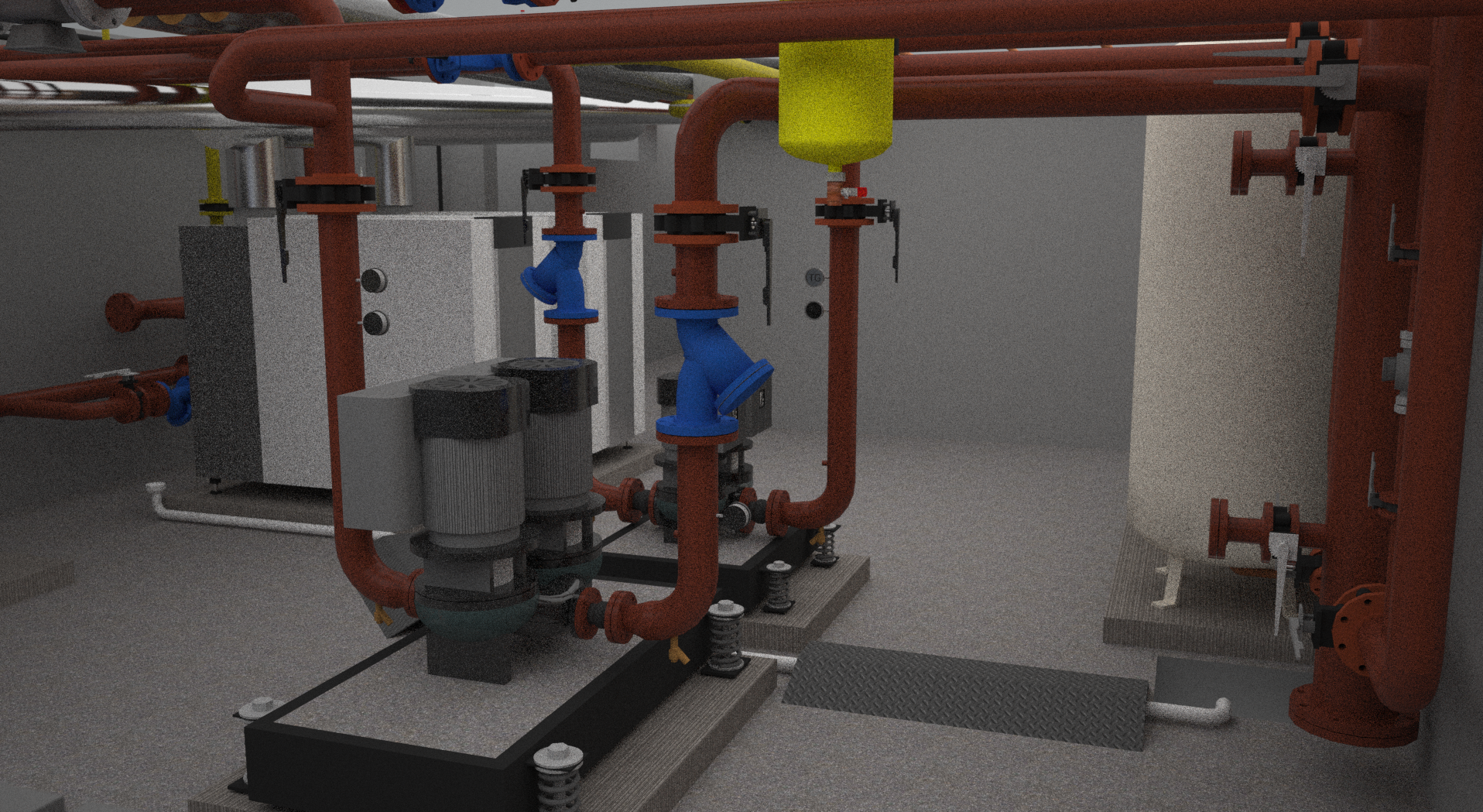 What the plant room at at Telford Homes' Tweed House development looks like in the BIM model...